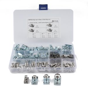 100 PCS Metal Fastener B-Clips Panel Dashboard Self-Tapping Screw Nuts With Bolt for Car, Motorcycle