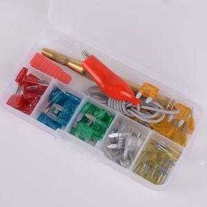 60Pcs Assorted Car Motorcycle Truck Mini Blade Fuse Set Kit 5A 10A 15A 20A 25A 30Amp + Test pencil
