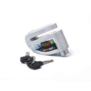 Motorcycle Scooter Bicycle Anti-theft Wheel Disc Brake Lock Security Alarm Silver