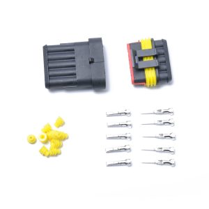 10 Kits 5 Pin Way Sealed Waterproof Electrical Wire Connector Plug Terminal Car Auto Set