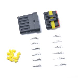 10 Kits 6 Pins Way Sealed Waterproof Electrical Wire Connector Plug Terminal Car Auto Set