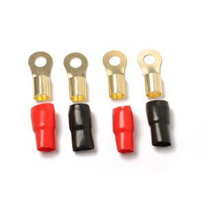 4 Pack Audio Power Ground Wire Ring Terminals Brass 1/0 Gauge Connectors Red and Black Boots 2/5″