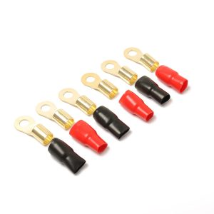 6 Pack Audio Power Ground Wire Ring Terminals Brass 1/0 Gauge Connectors Red and Black Boots 2/5″