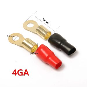 4 Pack Car Audio Power Ground Wire Ring Terminals Brass 4 Gauge 5/16″ Connectors Red and Black Boot