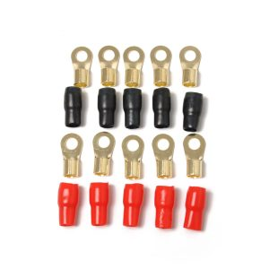 10 Pack Car Audio Power Ground Wire Ring Terminals Brass 4 Gauge 5/16″ Connectors Red and Black Boots