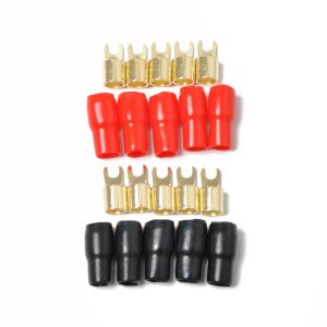 10 Pack Car Audio Power Ground Wire Fork Terminals Brass 4 Gauge 5/16″ Connectors Red and Black Boots