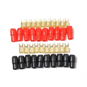 20 Pack Car Audio Power Ground Wire Fork Terminals Brass 4 Gauge 5/16″ Connectors Red and Black Boots