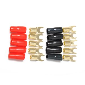 10 Pack Car Audio Power Ground Wire Fork Terminals Brass 8 GA Gauge Connectors Red and Black Boots