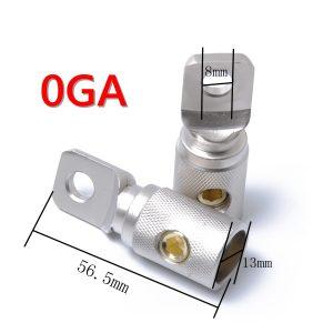 1 PAIR(2 PCS) NICKEL PLATED POWER RING TERMINAL 1/0GA GAUGE JOINER BARREL SET SCREW