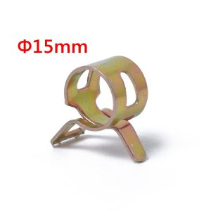 10pc 15mm Spring Clip Fuel Line Hose Clip Water Pipe Air Tube Clamp Fastener