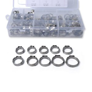 100 x 12.5-23.5mm Single Ear Plus Stainless Steel Hydraulic Hose Clamps O-Clips Pipe Fuel Air