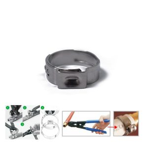 10 x 13.7-16.2mm Single Ear Plus Stainless Steel Hydraulic Hose Clamps O-Clips Pipe Fuel Air