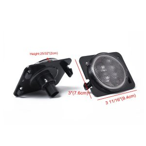 1 Pair Amber Front LED Turn Signal Light Fender Side Light Combo Lens for 2007-2017 Jeep Wrangler JK Lamp