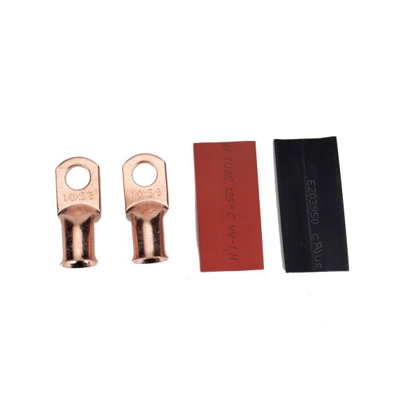 10 PCS T2 Copper Heavy Duty Cable American Standard Wiring Terminal 1/0*3/8 With Heat Shrinkable Tube for Military, Ships