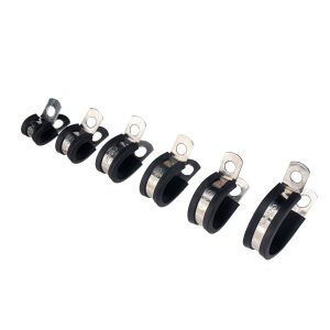 52pcs Rubber Cushion Insulated Clamp Stainless Steel Cable Clamp for Auto industrial home DIY
