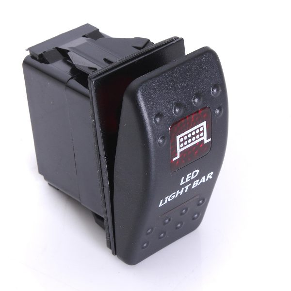 Rocker Switch SPST ON-OFF Dual Red LED Illuminated Roof Driving Spot Light for 12V-24V Car Boat Modified