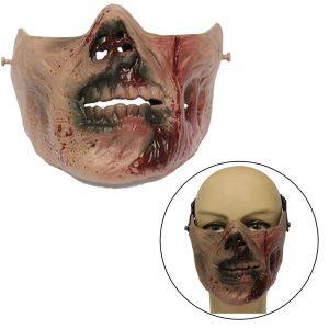 Zombie Skull Skeleton Half Face Mask Military Hunt Halloween Costume Party