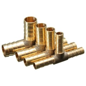 6mm / 8mm / 10mm / 12mm Brass T Piece 3 Way Fuel Hose Joiner Connector For Air Oil Gas