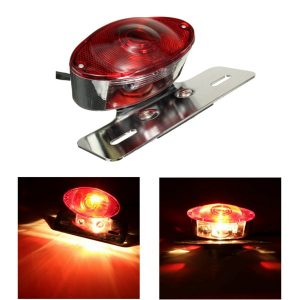 5W Motorcycle Rear Cat Eye Brake Tail Light Red Lens With Chrome Number Plate Bracket