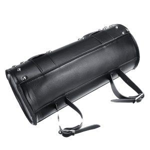 Motorcycle Front Fork Tool Bag Saddlebags Cruiser PU Leather Universal Black