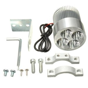 2pcs 12W 6000K LED Daylight Headlamp Spot Lightt Chrome For Motorcycle Scooter Car Truck Van