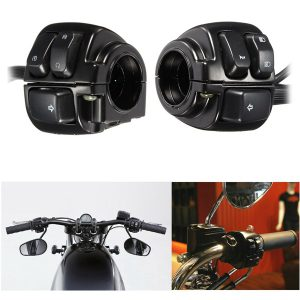 Pair 1inch 25mm Motorcycle Handlebar Control Switch Housing Wiring Harness for Harley