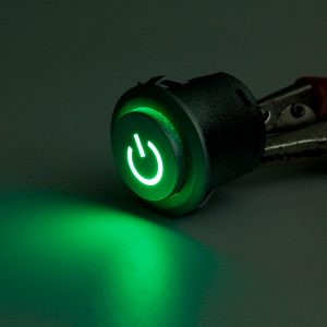 2pcs 12V 22mm LED Auto-lock Power Push Button ON/Off Switch Green