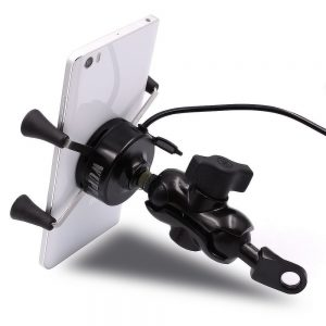 3.5-6 inch Phone GPS Holder USB Charger Motorcycle Scooter WUPP 3 Colors