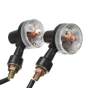 2X Universal Mini Retro Motorcycle Front Turn Signals Lights Indicators Abmer