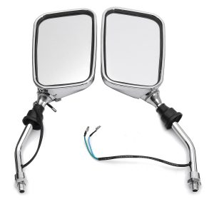 10mm Pair Motorcycle Rearview Side Chrome Mirrors And Turn Signal Indicator Light Amber