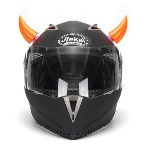 Orange Motorcycle Helmet Headwear Accessories Suction Cups Horns Decor Decoration