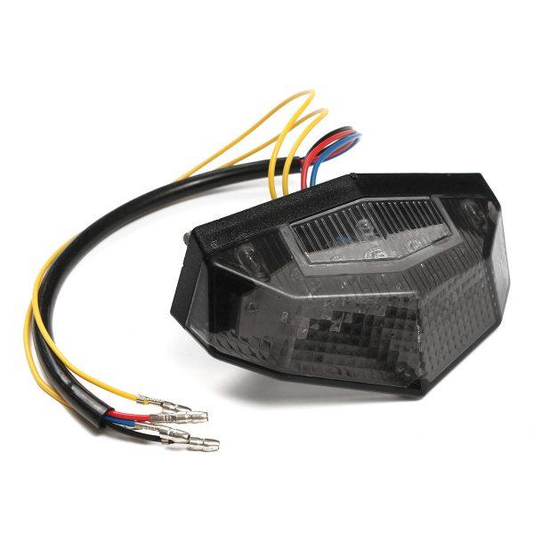 LED Running Stop Brake License Plate Tail Light Motorcycle Smoke Lamp