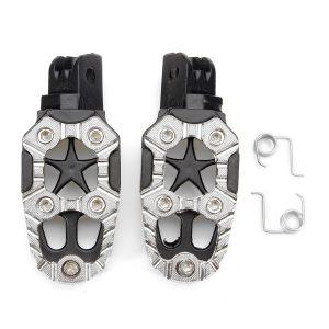 Motorcylce Bike Foot Pegs Pedals Treadles Footrest Foot Peg Universal Aluminum Alloy Sliver Black