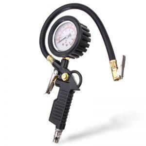 220 PSI Dial Tire Pressure Inflator Gauge Flexible Hose Style Air Chuck Pneumatic