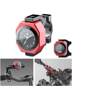 SPIRIT BEAST 22-28mm Handlebar Mount Motorcycle Clock+Thermometer Luminous Waterproof