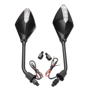 8mm 10mm Pair Motorcycle Rear View Mirrors Side Wind 12V LED Indicator Light Turn Signal
