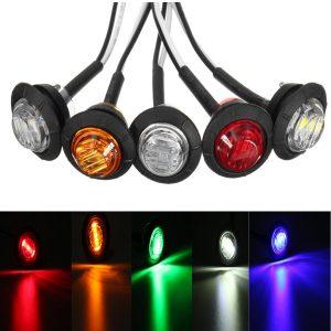 12V/24V Mini Round LED Bullet Button Side Marker Lights Metal