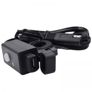 3.1A Waterproof SAE to USB Charger Motorcycle with Switch LED Extension Wire
