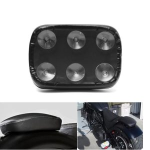 Motorcycle Rear Passenger Pillion Seat Pad Rectangle 6/8 Suction Cups For Harley