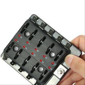 10 Way Blade Fuse Holder Box 32V LED Illuminated Automotive Fuse Block