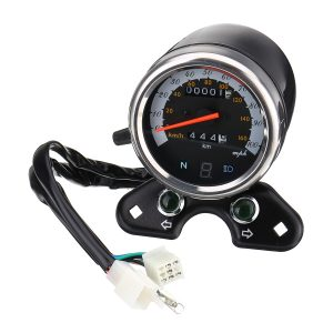Motorcycle Odometer Speedometer LCD Digital Gauge W/ Light USB Charger Interface For Cafe Racer