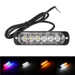 12V-24V 6LED Super Bright Strobe Emergency Warning Lights Police Flashing Light Bar