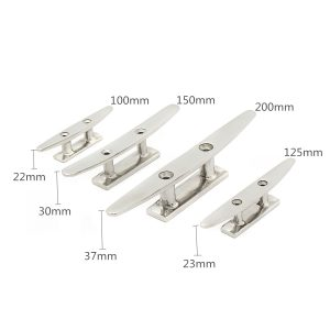 316 Stainless Steel 2 Hole Low Flat Boat Cleat Deck Rope Tie For Marine Yacht 4 Sizes