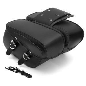 Pair PU Motorcycle Universal Saddle Bags Cross Rider Panniers Tool Luggage