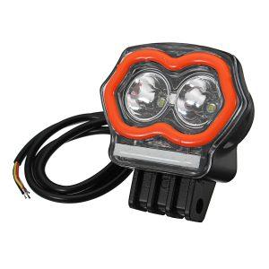 12-80V 20W Spotlight With USB Charger Fog Lamp Motorcycle Motorcross LED Headlight With Bracket