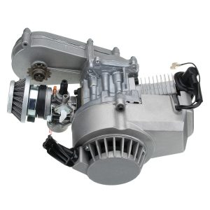 49cc Engine with Carburetor Gearbox Pull Start Coil For Mini Moto Dirt Bike Quad ATV Siver