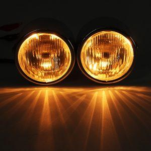 12V H4 35W Dual Twin Motorcycle Headlight Dominator Tracker Streetfighter Headlamp+Bracket