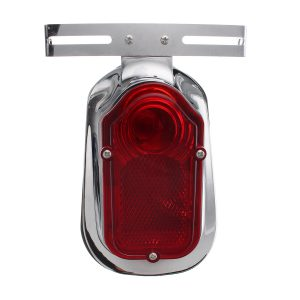 Motorcycle Rear Tail Lights Brake Stop Light Lamp License Plate Bracket For Chopper Cafe Race