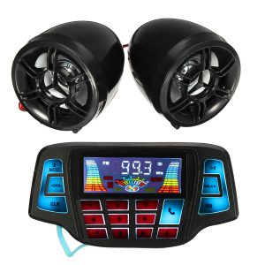Motorcycle Handlebar MP3 Black Speakers Audio System USB SD FM with bluetooth Function