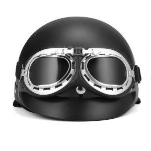 Retro Matt Black Motorcycle Half Face Helmet Biker Scooter With Sun Visor UV Goggles Cafe Racer